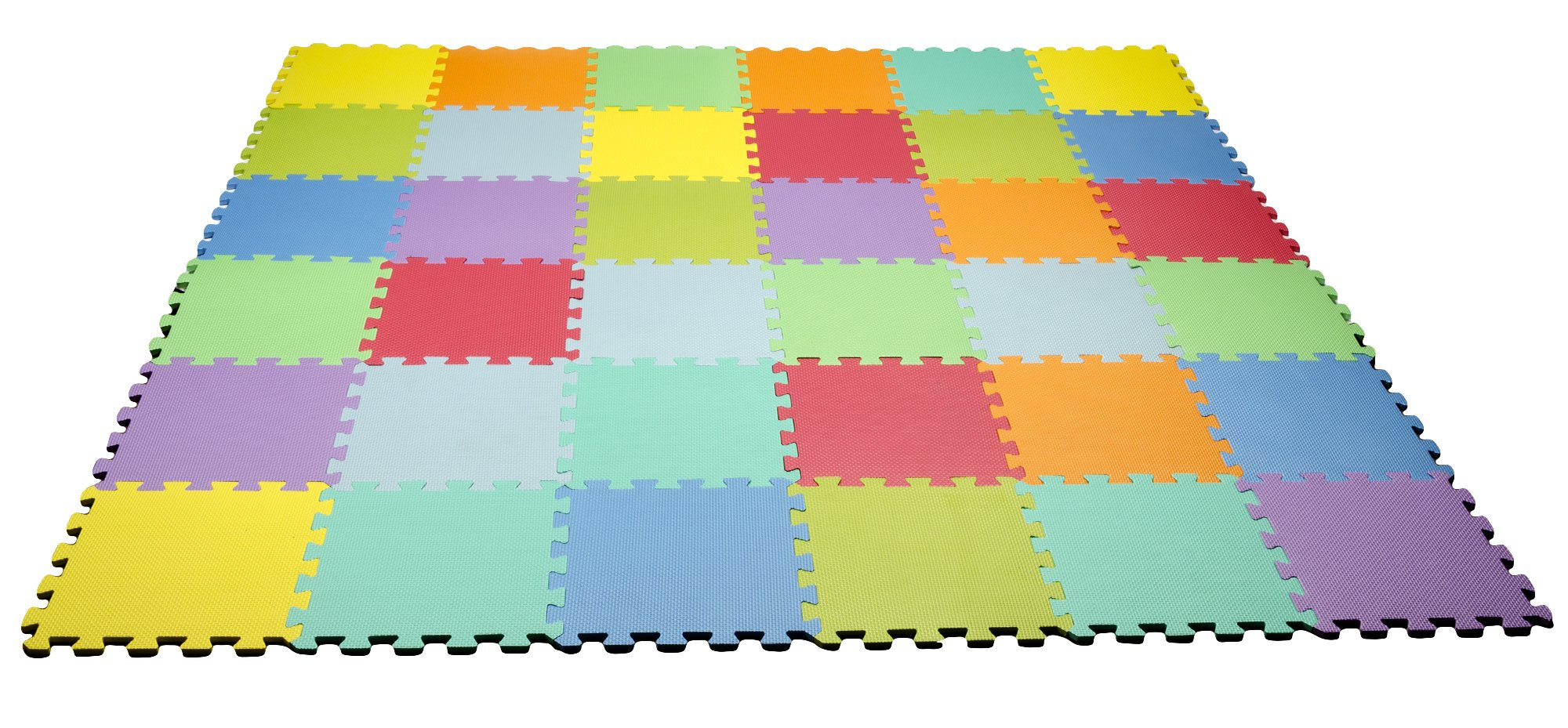 HemingWeigh Kids Multicolored Interlocking Puzzle Play Mat - 36 Tiles - Soft and Safe EVA Foam - Excellent for Day Care's, Play Rooms, Baby Rooms, and playgrounds