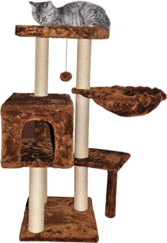 WIKI 002CO Cat Tree Scratching Toy with a Ball Activity Centre Cat Tower Furniture Jute-Covered Scratching Posts Coffee