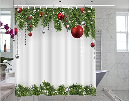 Christmas Shower Curtain Print Pattern Bathroom Decoration 66 X 72 Inches