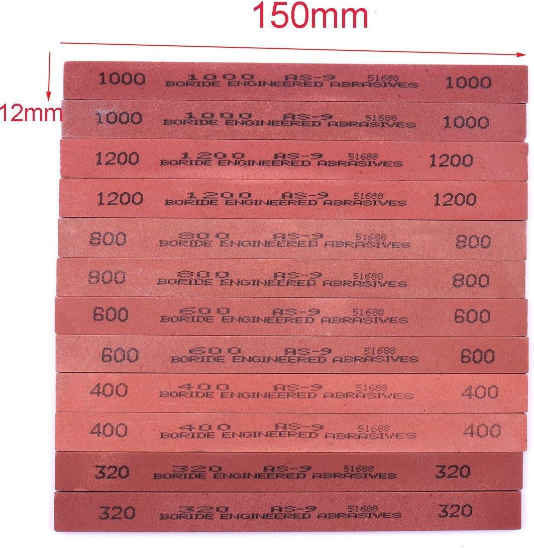 CHEERBRIGHT 6PCS White Corundum Sharpener Sharpening Whetstone Oil Stone Set Grits 320# 400# 600# 800# 1000# 1200#- 5.9x0.47x0.12Inch