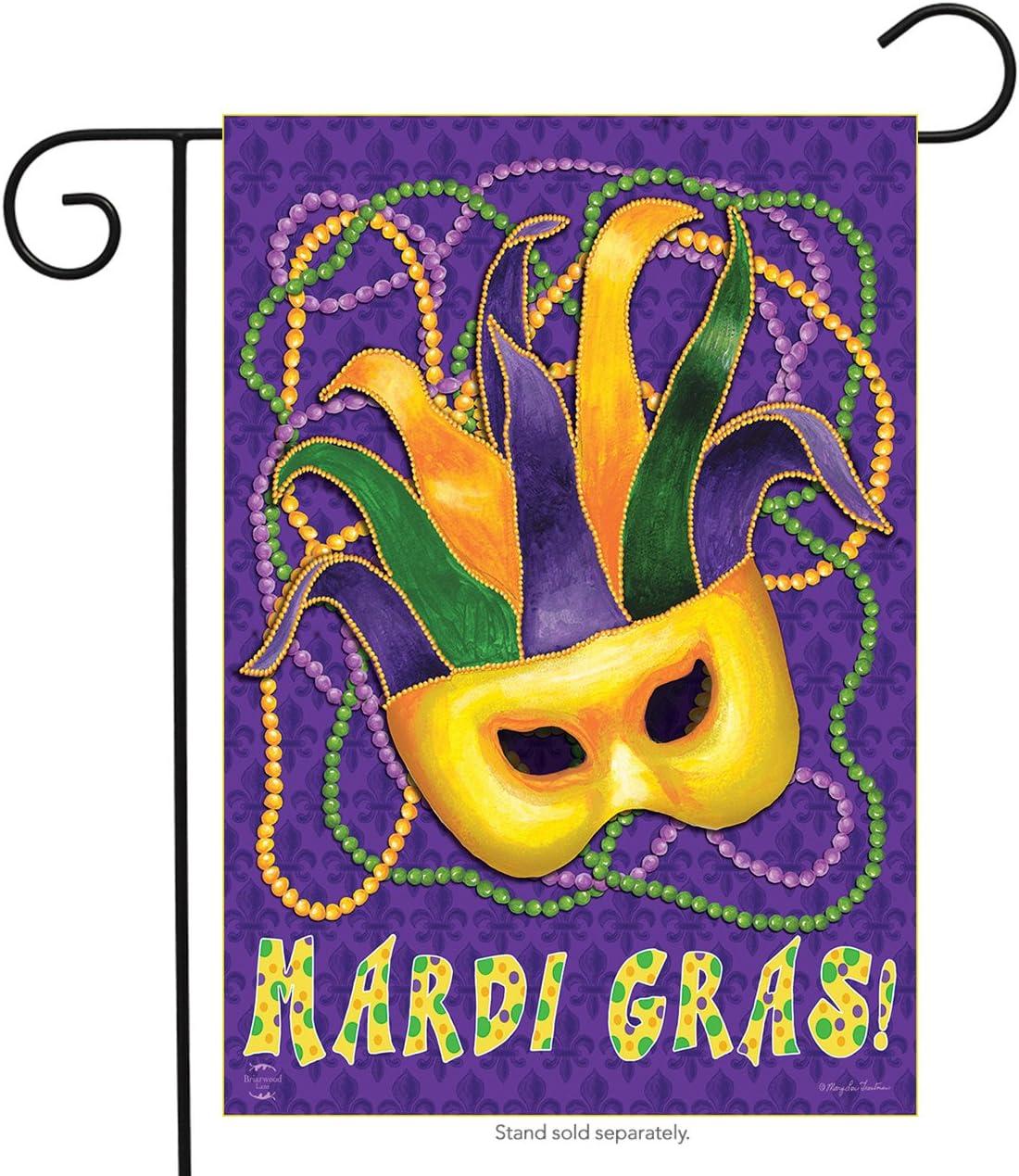 "Briarwood Lane Mardi Gras Garden Flag Mask Beads Holiday 12.5"" x 18"""