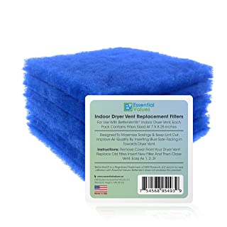 Essential Values 12 Pack Compatible Replacement Filters (60 Dryer Loads Total) for Bettervent Indoor Dryer Vent