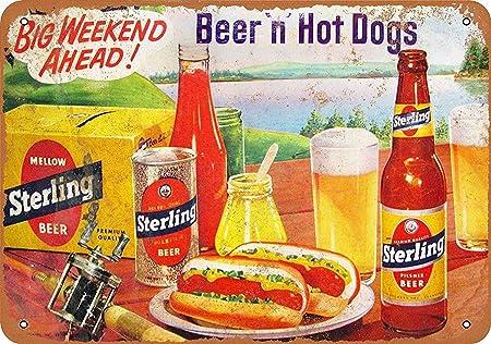 LORENZO Beer Hot Dogs Vintage Metal Cartel de Chapa Pared ...