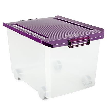 Tatay - Caja multiusos con ruedas, 60 L, Morado, 40 x 56.5 x