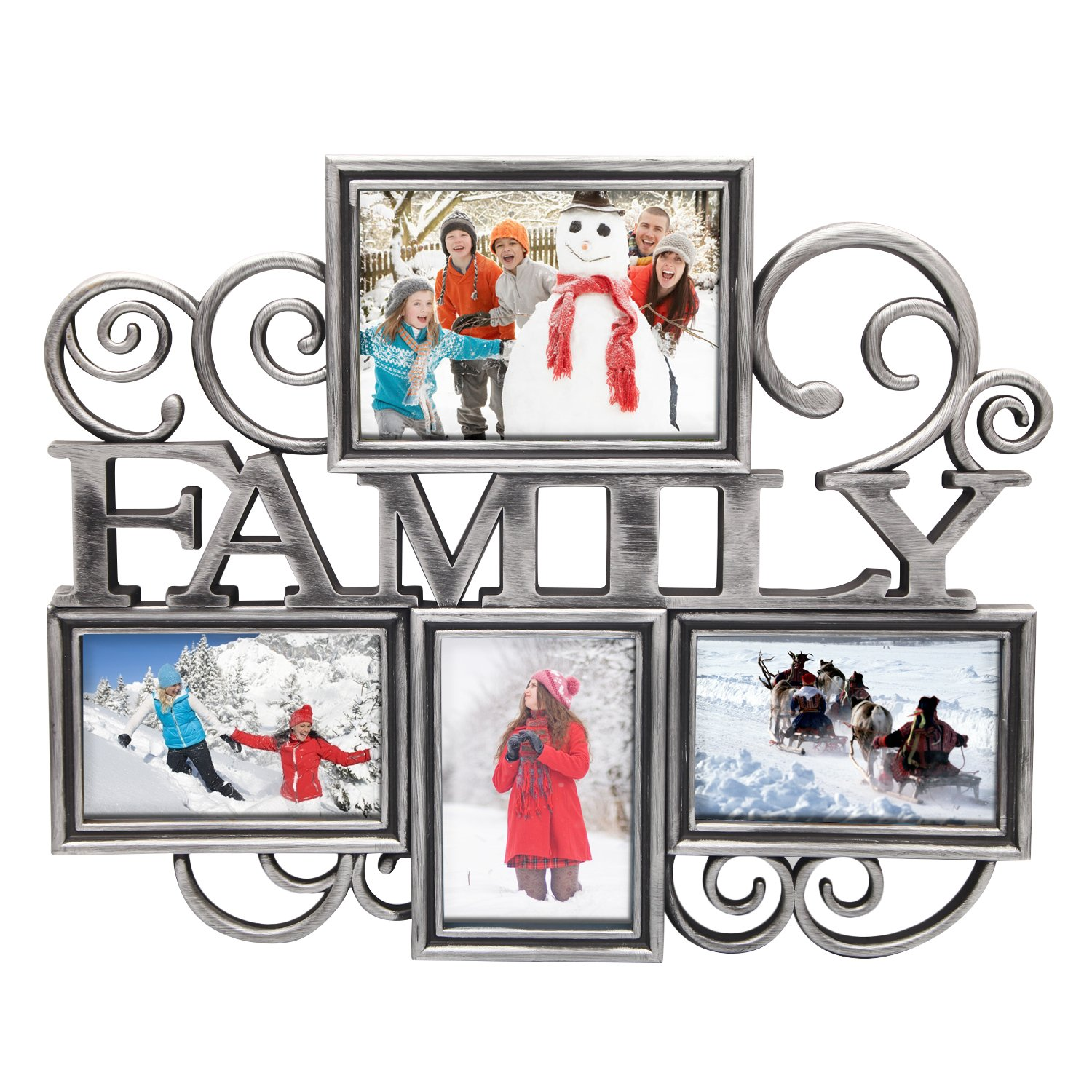 DecentHome Photo Picture Collage Frames Classic Silver 4 Frames Family, 1 For 5X7, 3 For 4X6