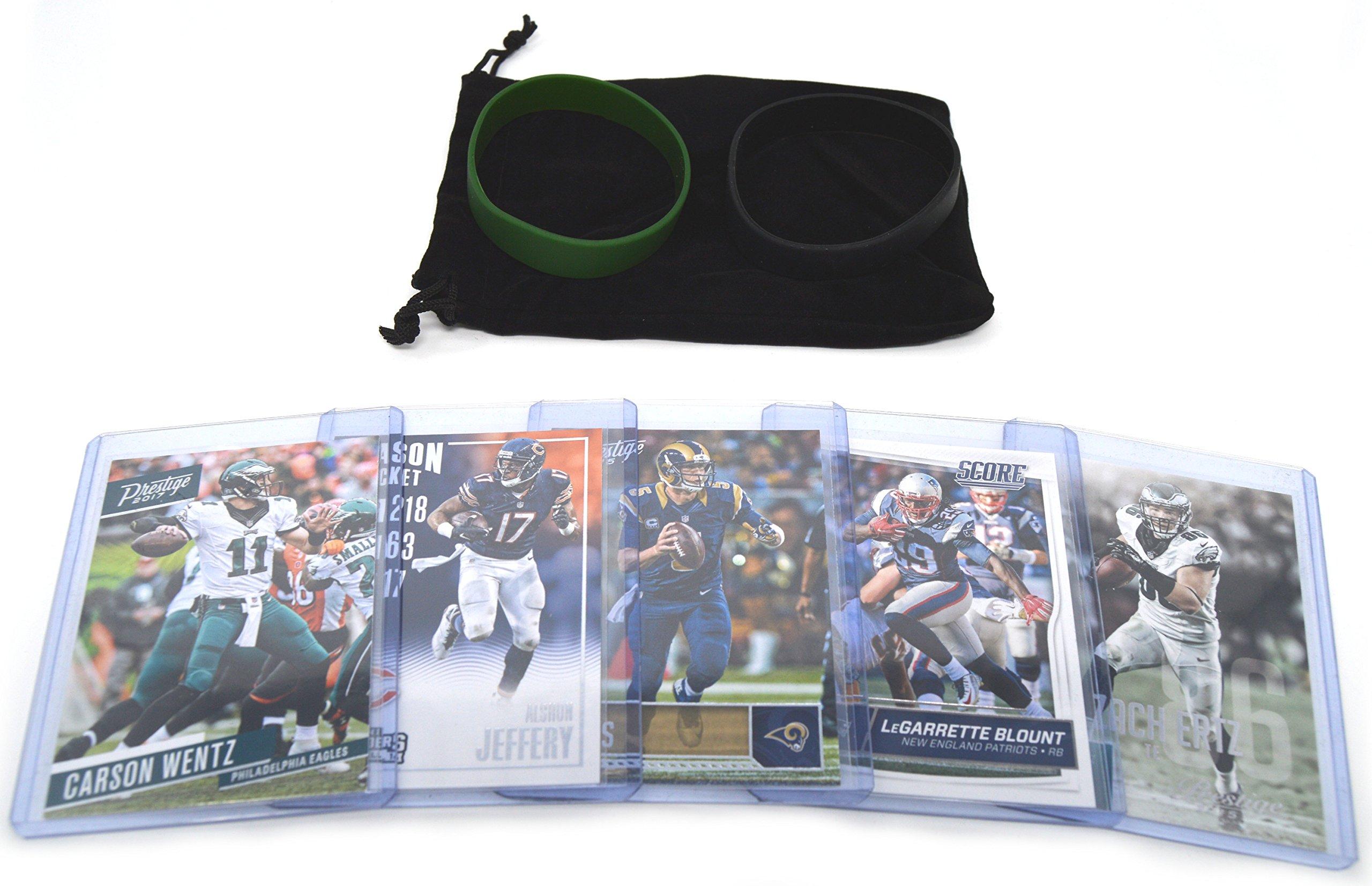 Philadelphia Eagles Cards: Carson Wentz, Nick Foles, Alshon Jeffery, Jay Ajayi, Zach Ertz ASSORTED Trading Cards and Wristbands Bundle