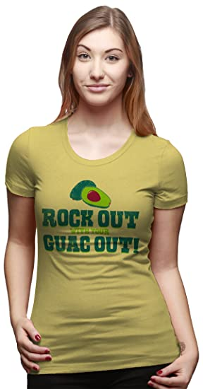 46983009 Womens Rock Out with Your Guac Out Funny Avocado Taco T Shirt (Yellow) S