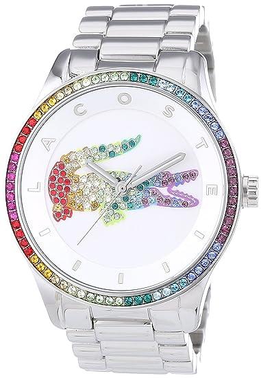 Lacoste VICTORIA - Reloj Analógico de Cuarzo para Mujer, correa de Acero inoxidable color Plateado: Amazon.es: Relojes