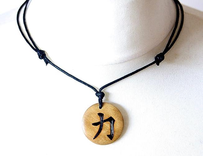 Strength Necklace Mens Jewellery Wooden Pendant Fitness Jewellery