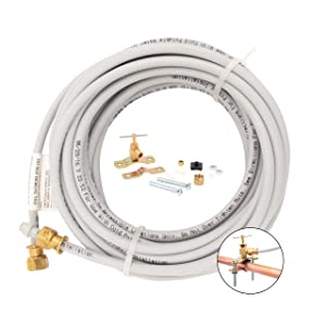 "PEX Ice Maker Installation Kit – 25 Feet of Tubing For Appliance Water Lines With Self Piercing Saddle Valve For Quick Installation, 1/4"" Compression Fittings, Flexible Hose For Potable Drinking Water"