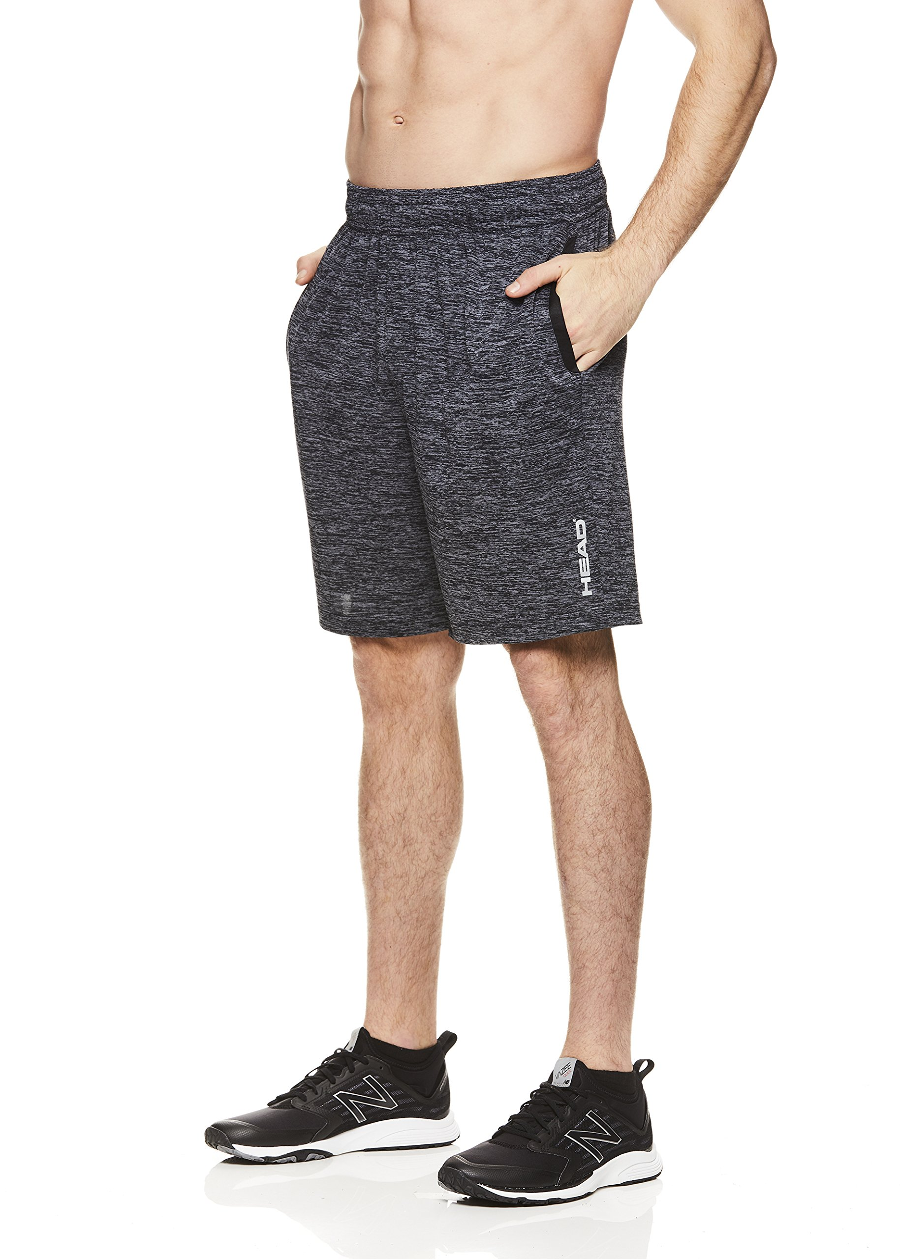 HEAD Men's Polyester Workout Gym & Running Shorts w/Elastic Waistband & Drawstring - Advantage Ebony Heather Black, 2X