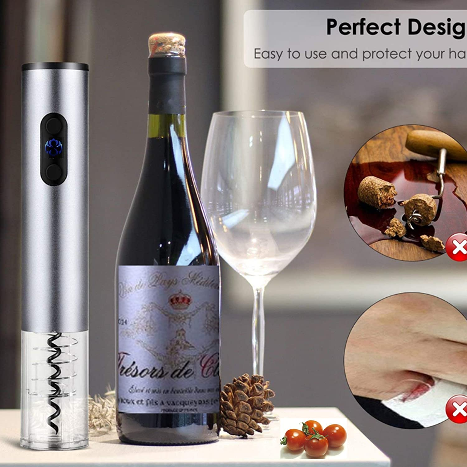 FDG Rechargeable Electric Wine Bottle Opener, Cordless Visible Electric Corkscrew Wine Opener Set with Foil Cutter, Fast Automatic Screwpull Bottle Opener fudiguo