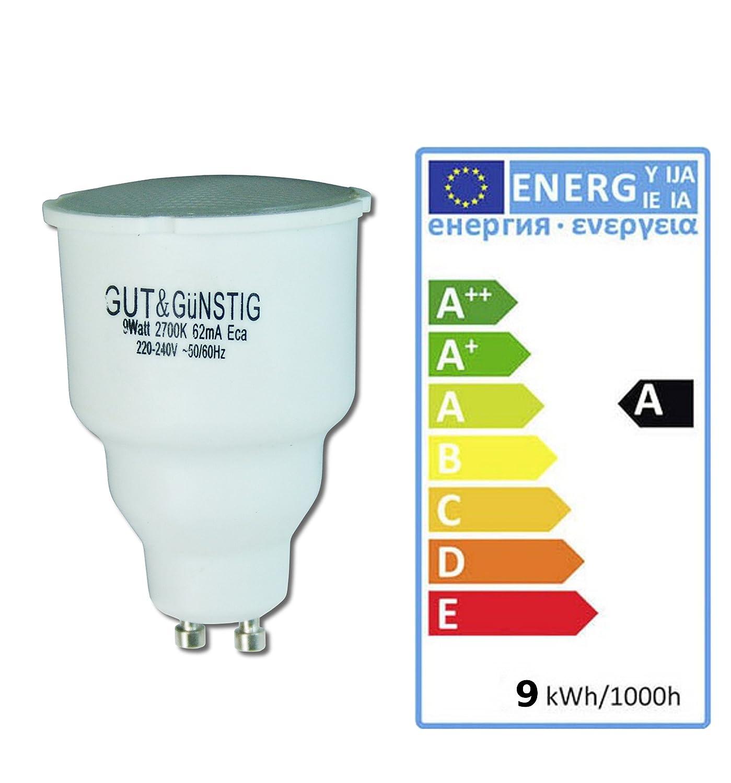 A Warmwei/ß Spar Paket 10 X 7 Watt Reflektor Energiesparlampe GU10 Sockel Energieeffizienz