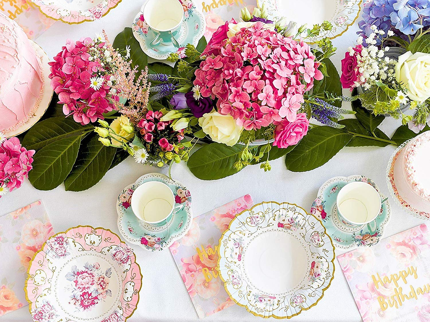 Happy Birthday Floral Paper Napkins 20 Pack Vintage Floral Small Paper Plates 12 Count Vintage Floral Paper Tea Cups and Saucer Sets 12 Count Talking Tables Truly Scrumptious Tea Party Bundle