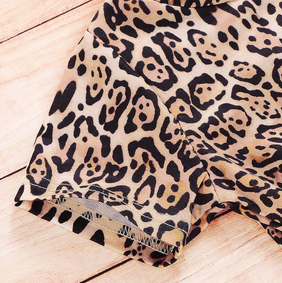 Fashion Toddler Kids Leopard Clothes Little Girls Irregular Leopard Top Shirt Bell-Bottoms Pants Summer Outfits