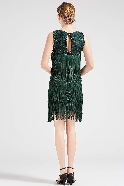 ArtiDeco 1920 Robe Femme Flapper Robe Soir/ée Robe Perl/ée Frang/ée Gatsby Robe Vintage sans Manche 1920s Party F/ête Bal Soir/ée Art D/éco