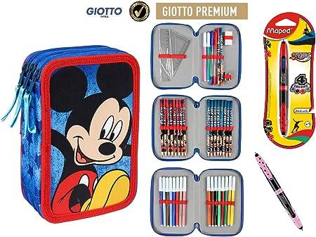 Plumier Estuche Artesanía Cerda Premium de cremallera triple 3 pisos MICKEY MOUSE- 43 piezas contenido Giotto + REGALO: Amazon.es: Oficina y papelería