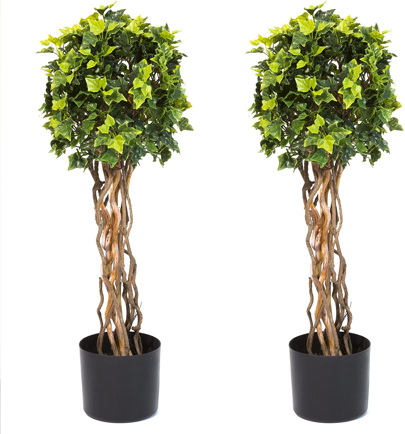 Pure Garden 30 Inch English Ivy Single Ball Topiary Tree - Set of 2