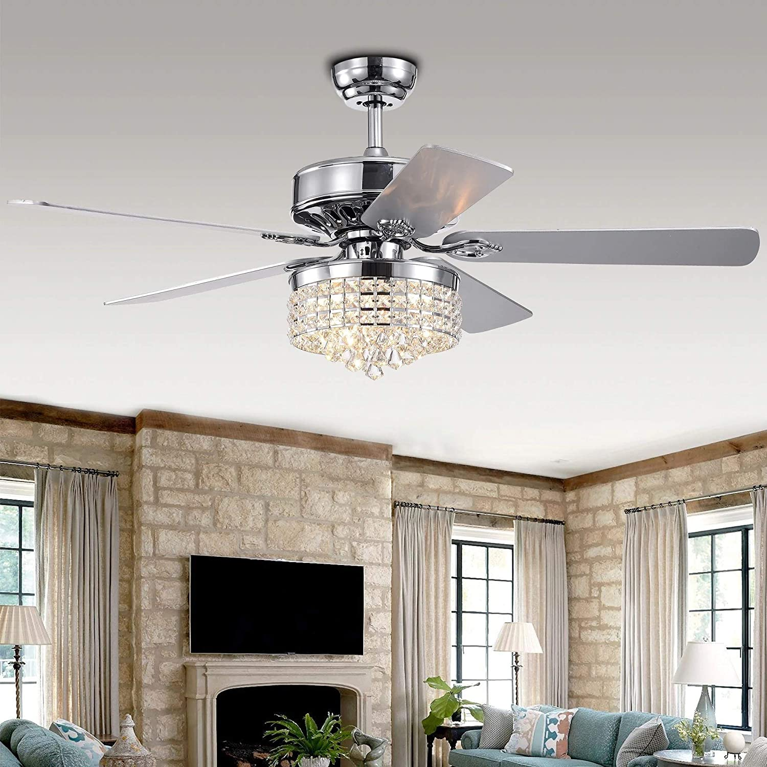 LuxureFan 52 Crystal LED Chrome Ceiling Fan Light Fixture Gorgeous Crystal 5 Reverse Wood Blades Modern Chandelier with Remote Control Decoration Home Living Room