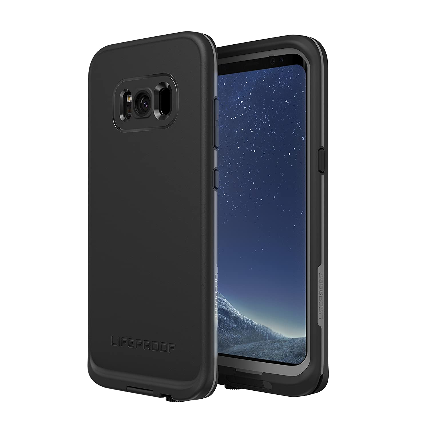 Lifeproof FRĒ Series Waterproof Case for Samsung Galaxy S8+ (ONLY) - Retail Packaging - Asphalt (Black/Dark Grey)