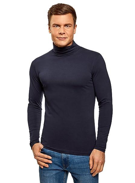 oodji Ultra Hombre Suéter de Cuello Alto Ajustado, Azul, ES 58-60 ...
