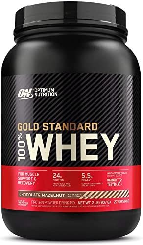 Optimum Nutrition Gold Standard 100 Whey Protein Powder, Chocolate Hazelnut, 2 Pound Packaging May Vary