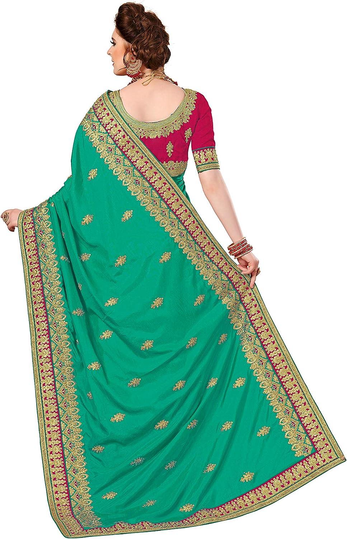 K772 Nivah Fashion Sari brod/é en soie avec chemisier pour femme