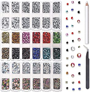 UOONY 10272pcs Multicolor Hotfix Rhinestones, Flat Back Round Glass Gems Set with 4 Sizes Clear Crystal and AB Crystal, 12 Mixed Color Rhinestones Bulk for Crafts, Shoes, Clothes, Makeup