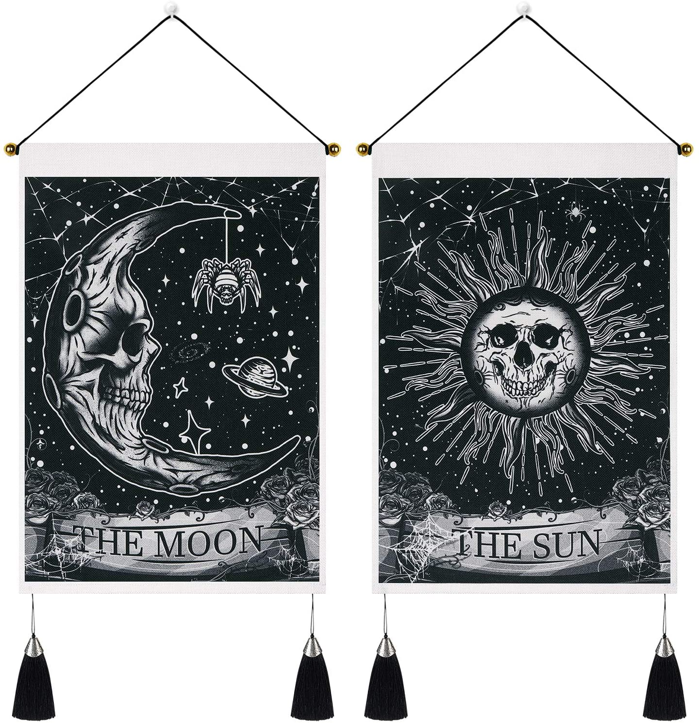 Pack of 2 Moon and Sun Tarot Card Tapestry The Sun Moon Tapestry Skull Floral Tapestry Psychedelic Stars Spider Insect Tapestries Black Celestial Tapestry Wall Hanging for Room(13.8 x 19.7 inches)