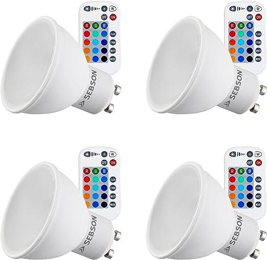 4 x GU10 LED Glühlampe G10 5W RGB Glühbirne 16 Farbwechsel LED-Glühbirnen