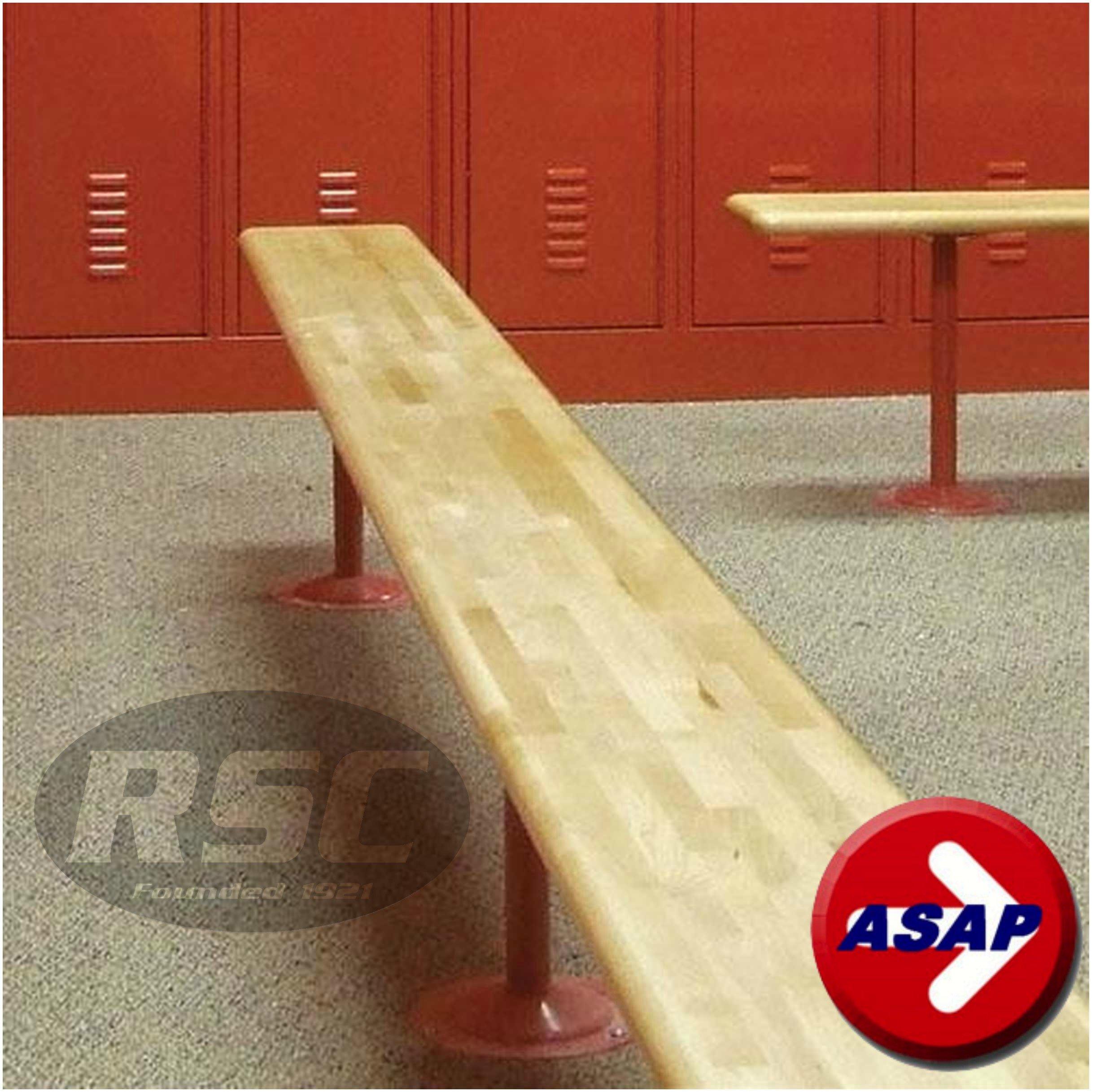 Hardwood Locker Room Bench Top (No Pedestals, Top Only) - 36'' L x 9.5'' W, 1.25'' Thick