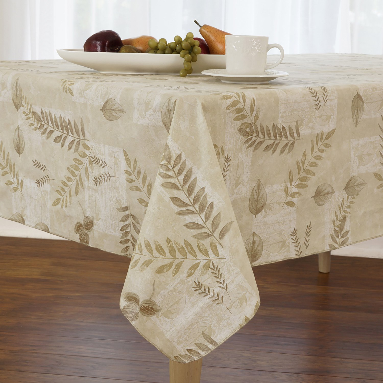 Everyday Luxuries Boxed Fern Flannel Backed Vinyl Tablecloth Indoor Outdoor, 52-Inch by 70-Inch Oval, Taupe