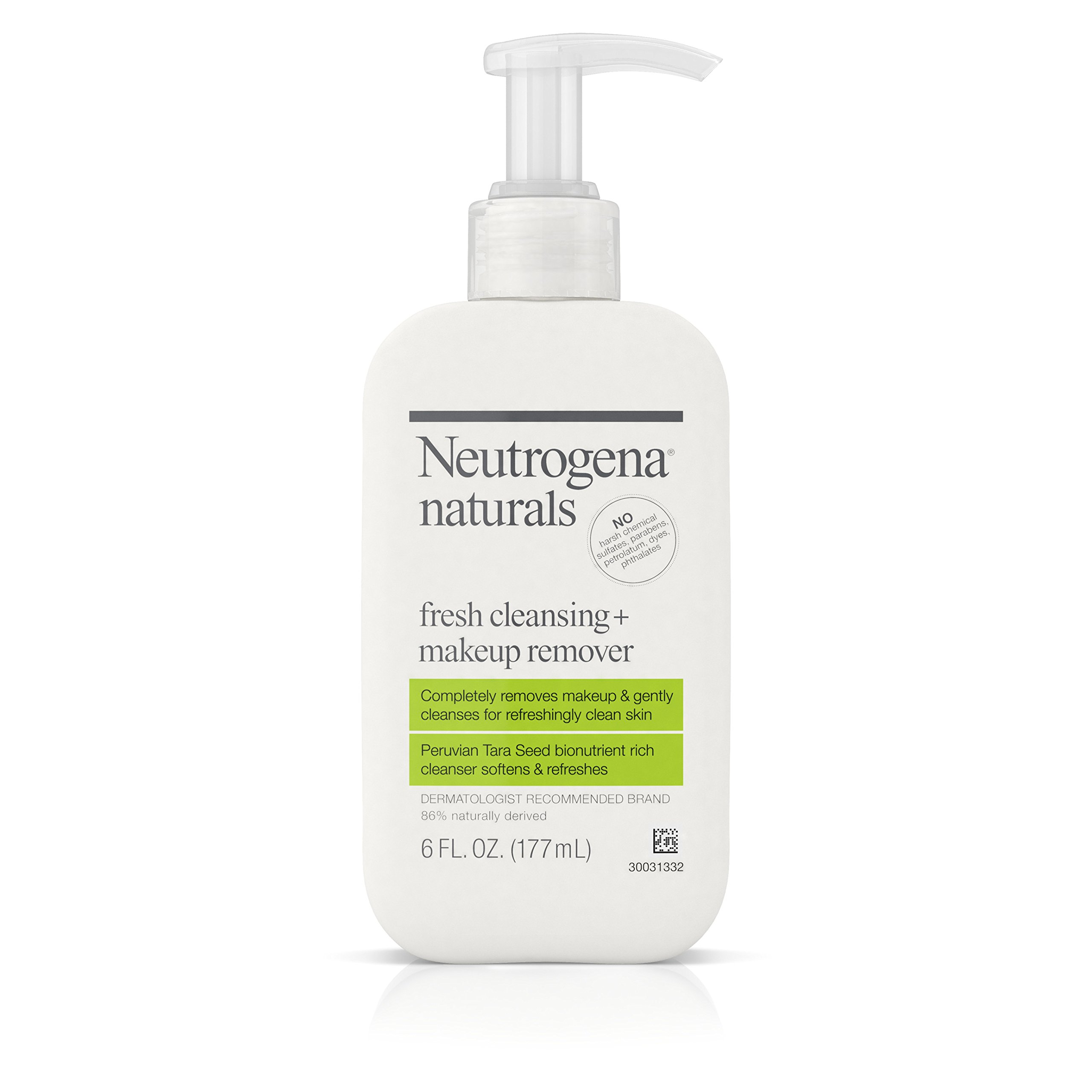 Neutrogena Naturals Fresh Cleansing Daily Face Wash + Makeup Remover with Naturally-Derived Peruvian Tara Seed, Hypoallergenic, Non-Comedogenic & Sulfate-, Paraben- & Phthalate-Free, 6 fl. oz