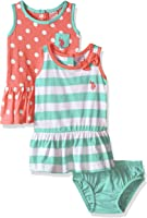 U.S. Polo Assn. Baby Girls' 2 Pack Stripe and Polka Dot Cotton Dresses