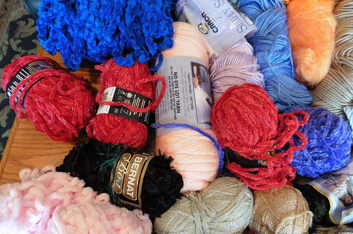 Amazon.com: Lot of Colorful Yarn Skeins Crochet knitting ...
