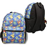 Pokemon All Over Print 16 inch Blue Backpack with Multi Characters including Pikachu