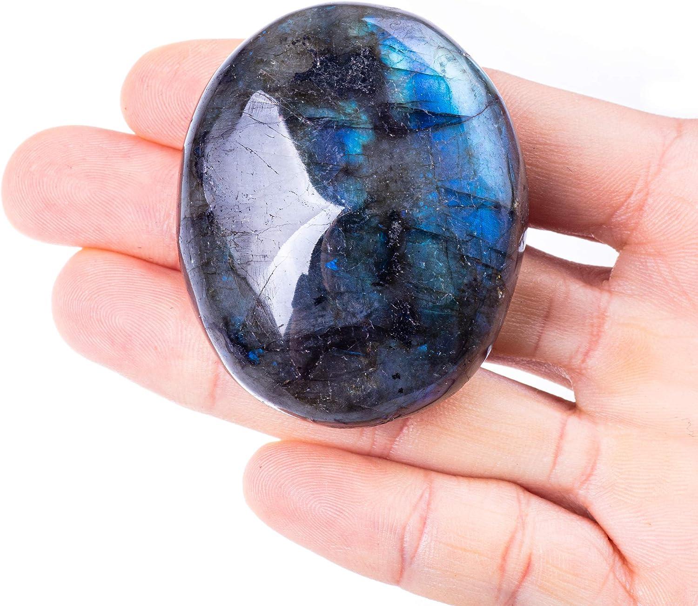 "Unihom Natural Labradorite Palm Stones, Healing Crystal Gemstone Irregular Polished Worry Stone 1.5""-2.7"""