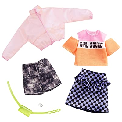 Barbie Clothes: 2 Outfits Doll Include A Jacket, 'Girl Squad' Top, Checked Skirt, Denim Shorts, Fanny Pack and Watch, Gift for 3 to 8 Year Olds​: Toys & Games