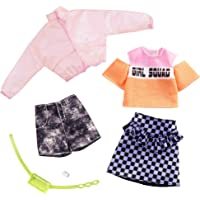 Barbie Clothes: 2 Outfits Doll Include A Jacket, 'Girl Squad' Top, Checked Skirt, Denim Shorts, Fanny Pack and Watch, Gift for 3 to 8 Year Olds