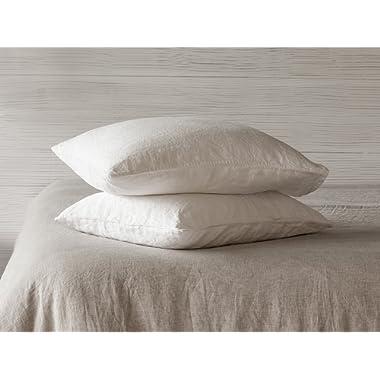 BEALINEN Linen Pillowcases Shams 2 pcs with Inside Pocket Closure Size KING 20 x36  White Linen Color Washed Softened European Linen