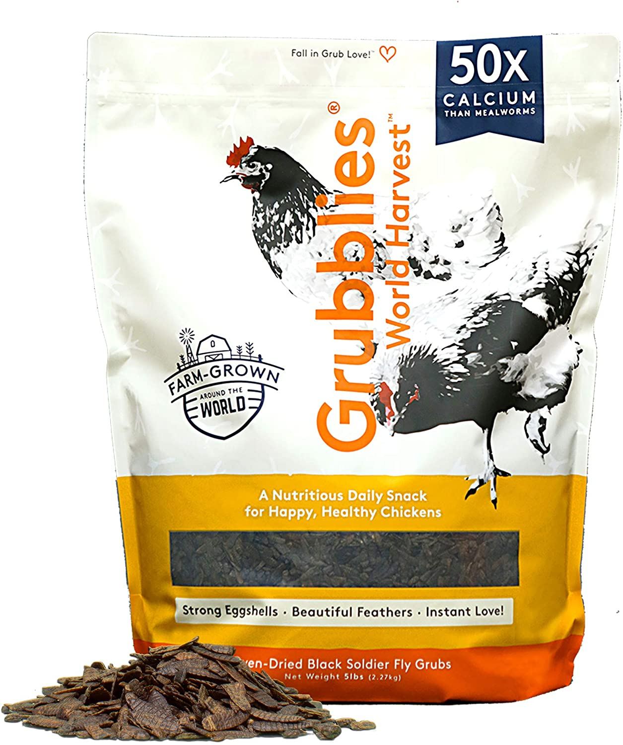 Grubblies World Harvest– Natural Grubs for Chickens - Chicken Feed Supplement with 50x Calcium, Healthier Than Mealworms - Black Soldier Fly Larvae Treats for Hens, Ducks, Birds