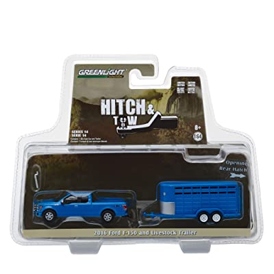 2016 Ford F-150 4X4 Pickup Truck with Livestock Trailer Blue Hitch & Tow Series 14 1/64 Diecast Models by Greenlight 32140 C: Toys & Games