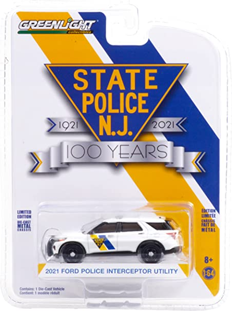 2021 Ford Police Interceptor Utility White New Jersey State Police 100th Anniversary (1921-2021) 1/64 Diecast Model Car by Greenlight 28060 F