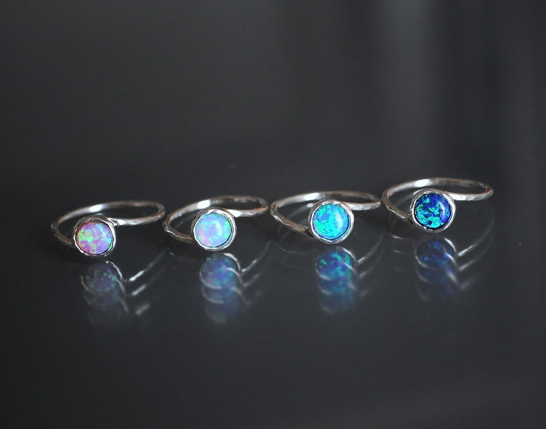 Opal ring size 8 Sterling Silver White Fire Opal
