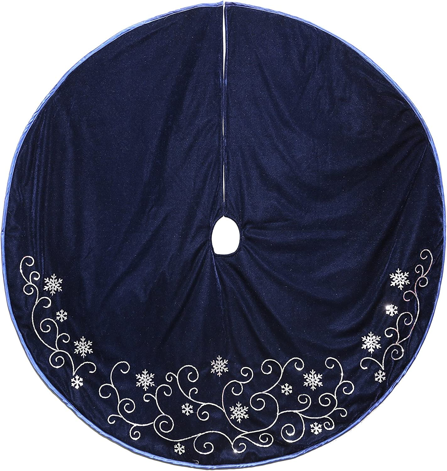 New Traditions Simplify Your Holiday Velvet Christmas Decor with Embroidered Sequin Taffeta Piping and Snowflakes (Tree Skirt)