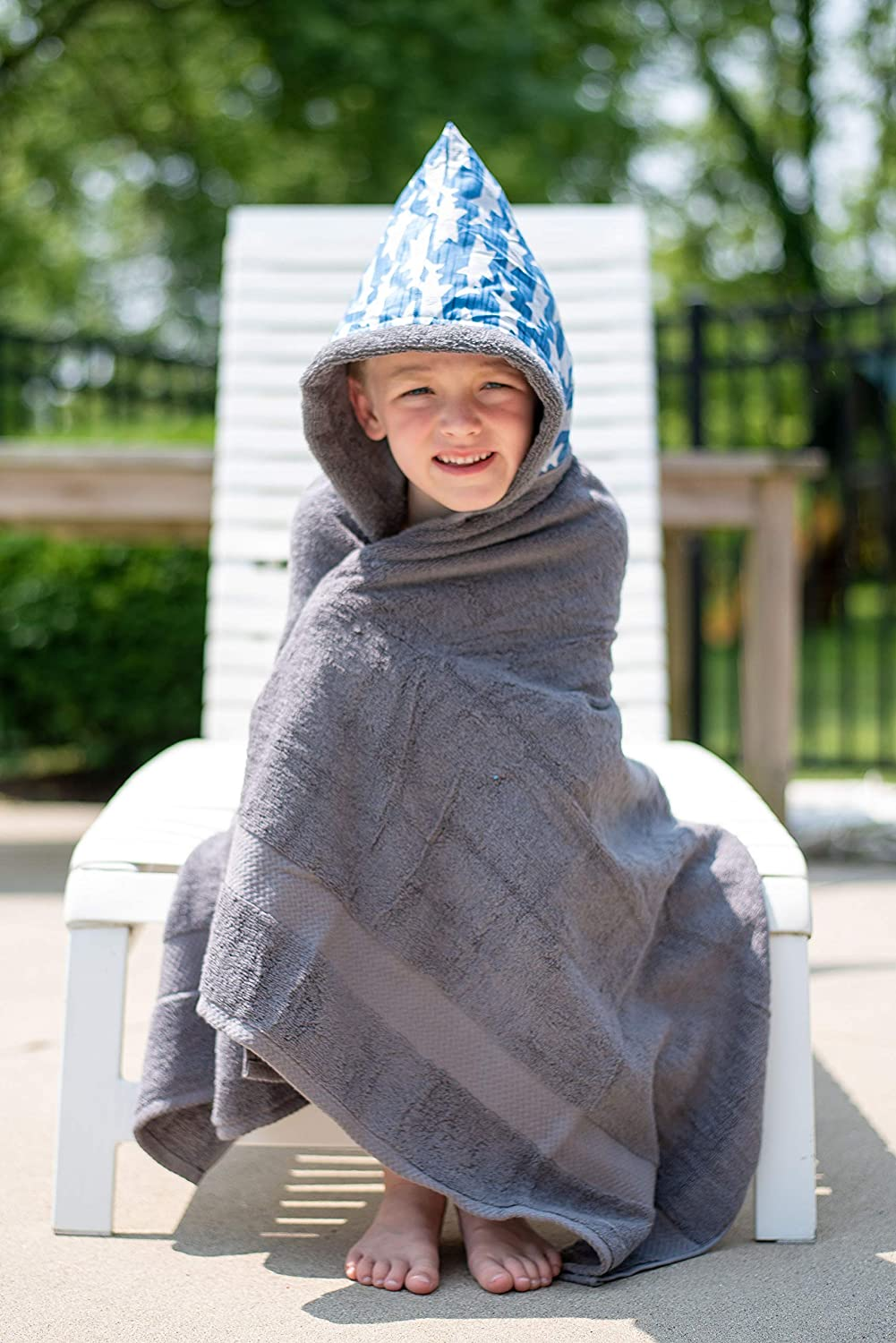 Beach Towel ✱ Extra Large Size 30x54 ✱ Soft Plush Absorbent ✱ Handmade in USA Toddler Big Kids ✱ Bath Pool Cover Abigail Grey Hooded Towel ✱ Age 0-10 Years ✱ Infant