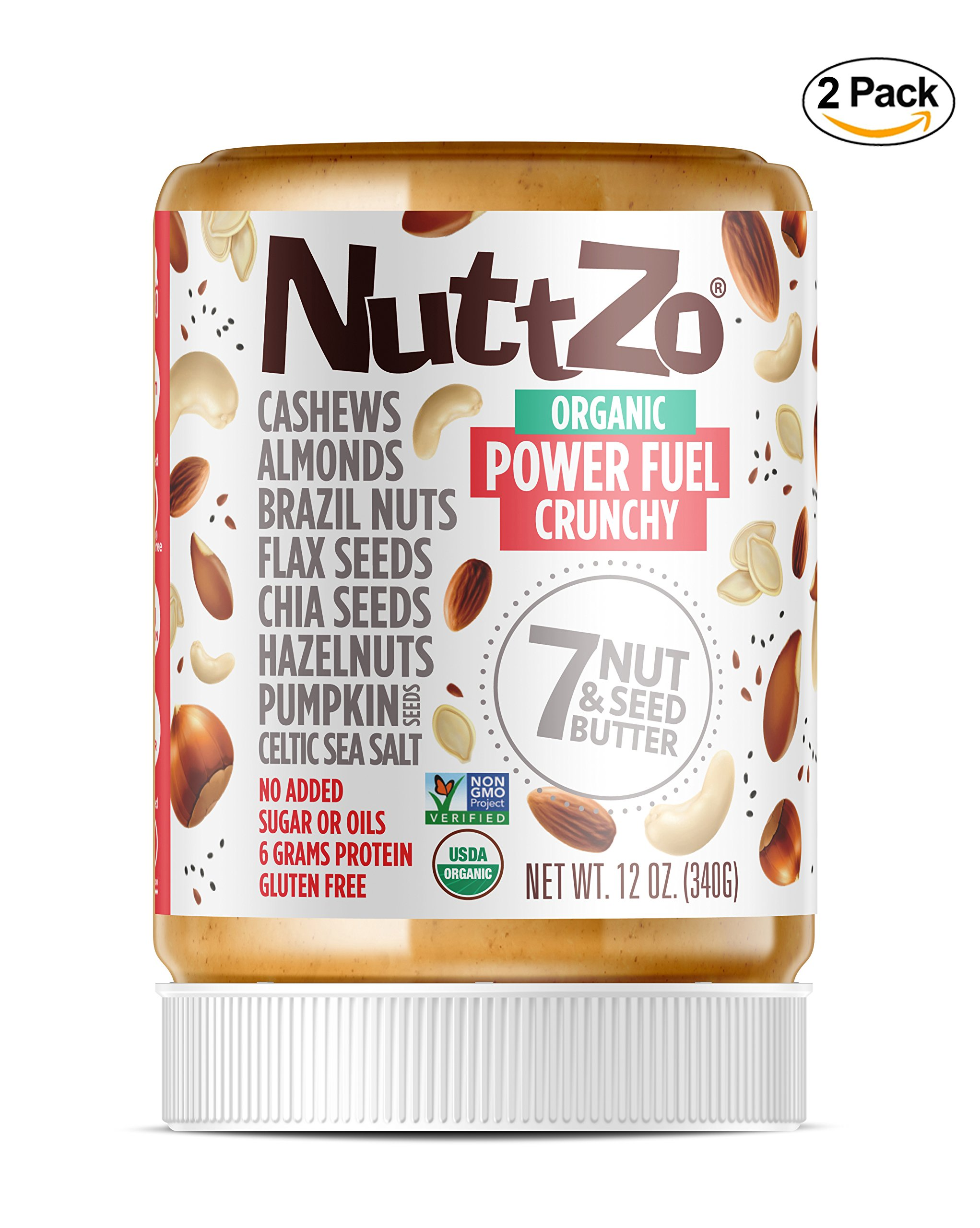 Nuttzo Organic Crunchy Paleo Power Fuel Seven Nut and Seed Butter, Peanut Free, 12 oz, 2 Pack