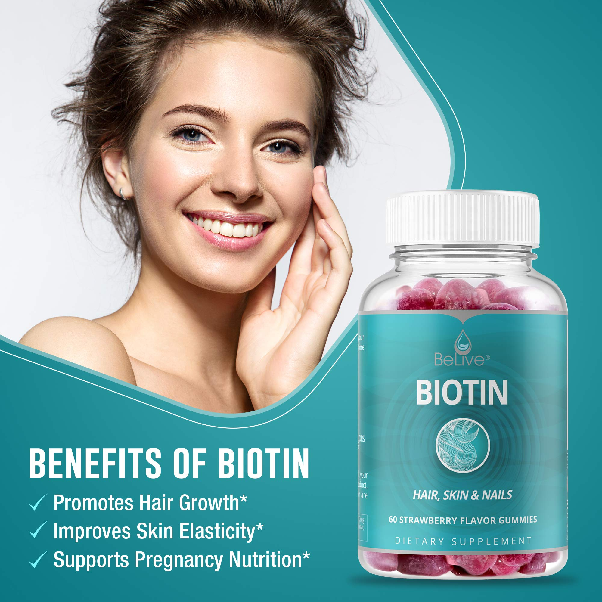 BeLive Biotin Gummies for Hair Growth, Promotes Healthier Hair, Skin & Nail - Best Strength 10,000mcg for Women & Men, 80 Count