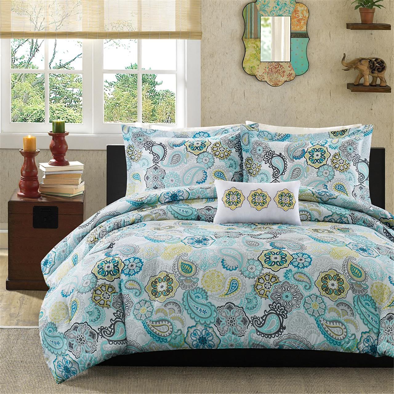 Mi-Zone Tamil Comforter Set Twin/Twin XL Size - Blue White, Floral – 3 Piece Bed Sets – Ultra Soft Microfiber Teen Bedding for Girls Bedroom