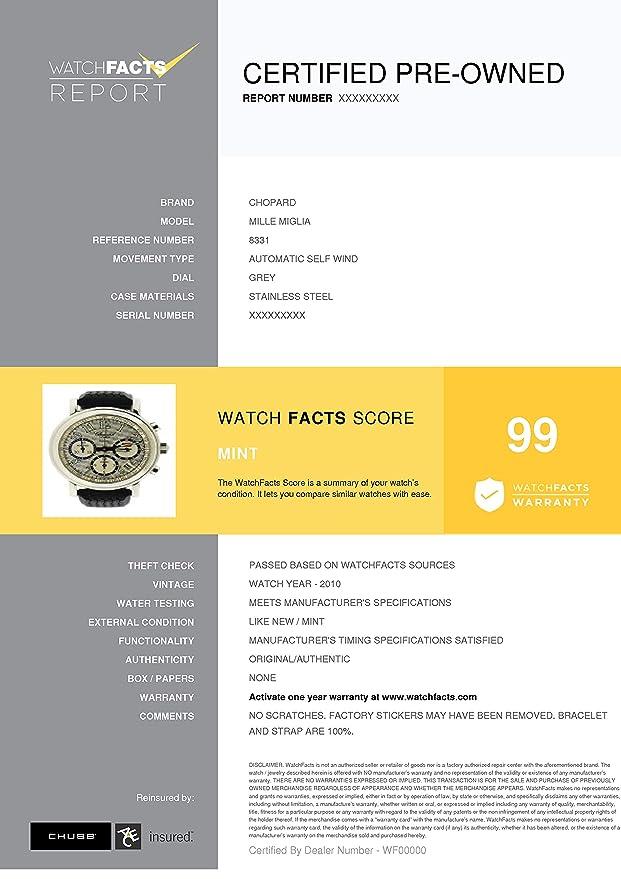 78c43e6e3 Amazon.com: Chopard Mille Miglia Automatic-self-Wind Male Watch 8331  (Certified Pre-Owned): Chopard: Watches